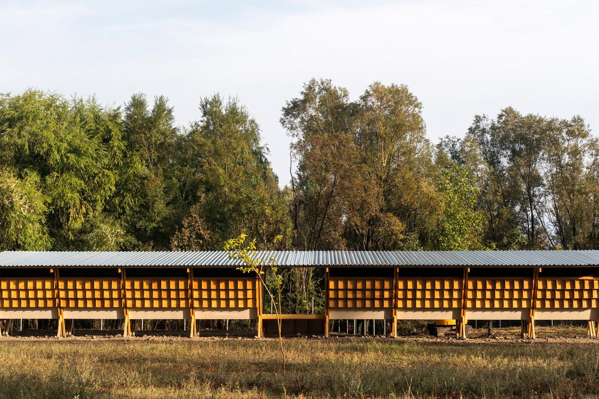 Wood chicken coop on farm