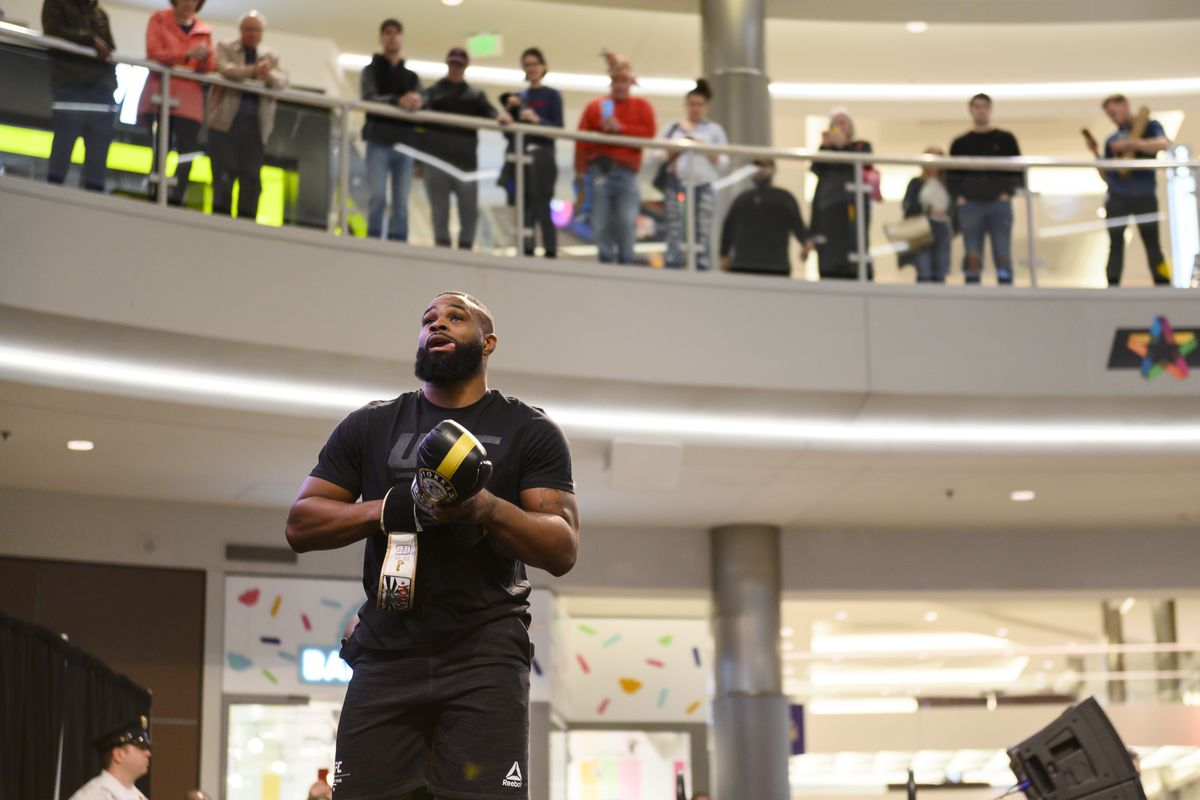 Tyron Woodley performs in front of a crowd during the UFC Fight Night Open Workouts event at the Mall of America on May 2, 2019 in Minneapolis, Minnesota.
