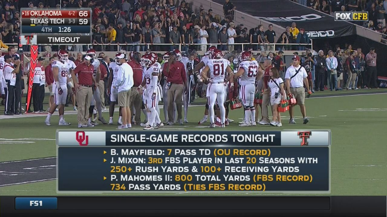 Oklahoma Beat Texas Tech In A Shootout That Broke Division I S All Time Yardage Record Sbnation Com