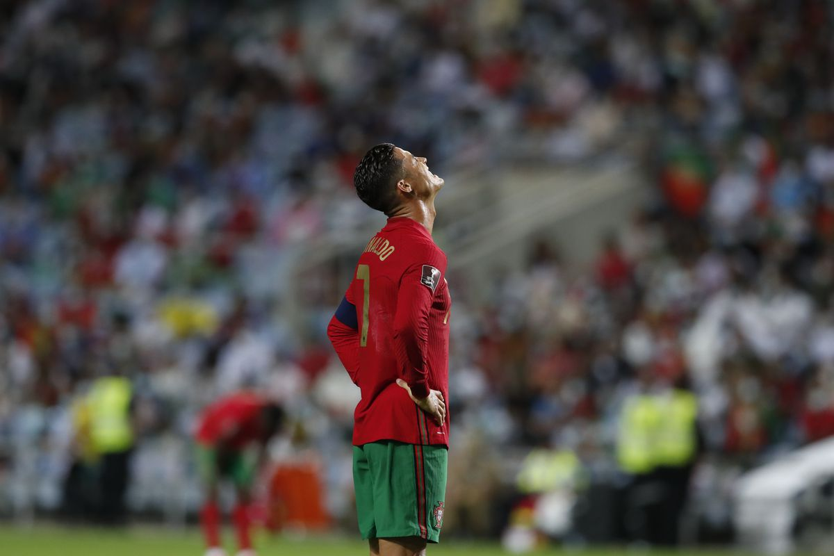 Cristiano Ronaldo reacts during the World Cup qualifying soccer match against Ireland.
