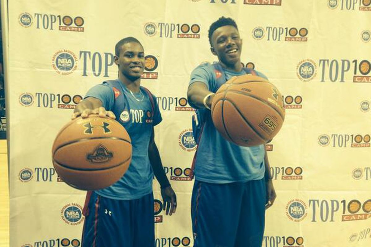 Tevin Mack (right) at the NBA Top 100 camp