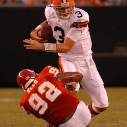 """<strong>2007 </strong>""""Cleveland Browns quarterback Derek Anderson #3 is nearly sacked by Kansas City Chiefs defensive lineman James Reed #92""""<span class=""""ql-cursor""""></span>"""