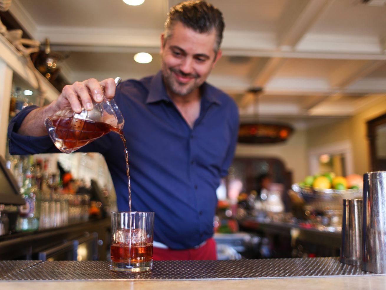 Guest bartender Tobin Shea at Big Bar.