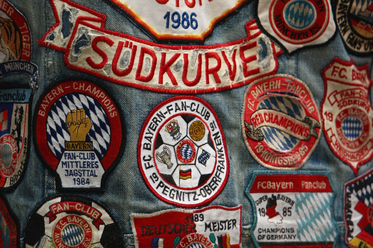 COLOGNE, GERMANY - SEPTEMBER 13: A detail view of a Bayern Munich fan jeans jacket is seen during the Bundesliga match between 1. FC Koeln and Bayern Munich at the RheinEnergie stadium on September 13, 2008 in Cologne, Germany.
