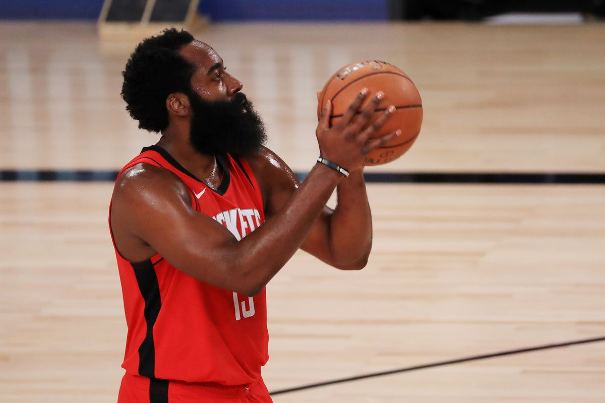 James Harden of the Houston Rockets shoots a free throw during the first half against the Dallas Mavericks at The Arena at ESPN Wide World Of Sports Complex on July 31, 2020 in Lake Buena Vista, Florida.