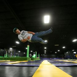 Cooper Roy, 13, jumps on trampolines at Get Air Salt Lake in Murray on Friday, July 29, 2016.