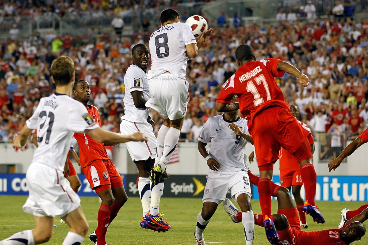 TAMPA, FL - JUNE 11:  Clint Dempsey #8 of Team United States heads the ball against Team Panama during the CONCACAF Gold Cup Match at Raymond James Stadium on June 11, 2011 in Tampa, Florida.  (Photo by J. Meric/Getty Images)
