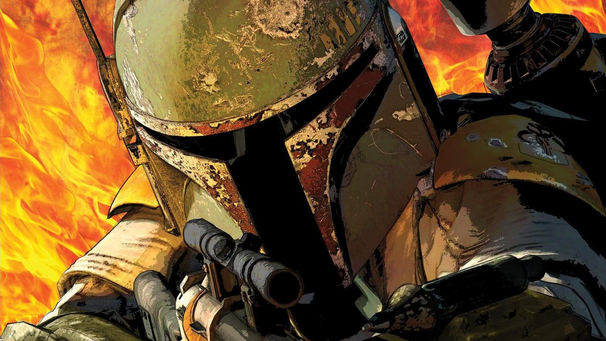 On a background of flames, Boba Fett draws a bead with his blaster while his flamethrower spews from his wrist on the cover of Star Wars: War of the Bounty Hunters #1 (2021).