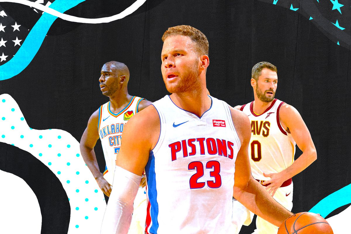 A collage of Chris Paul (left), Blake Griffin (center), and Kevin Love (right).