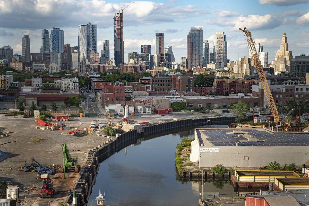 An aerial view of the Gowanus Canal and areas proposed for rezoning, seen from the Smith and Ninth Street subway station, August 02, 2021.