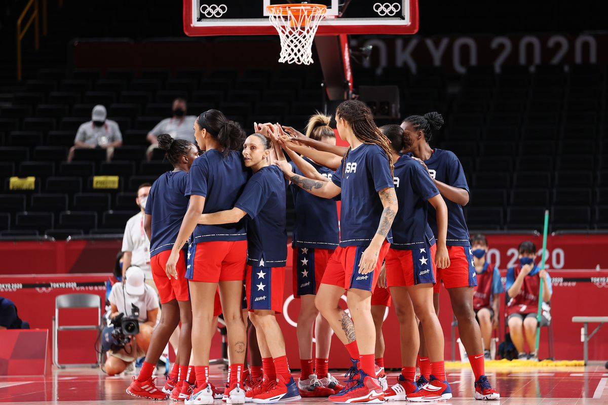 Members of United States of America huddle before a game against Nigeria during a Women's Preliminary Round Group B game on day four of the Tokyo 2020 Olympic Games at Saitama Super Arena on July 27, 2021 in Saitama, Japan.