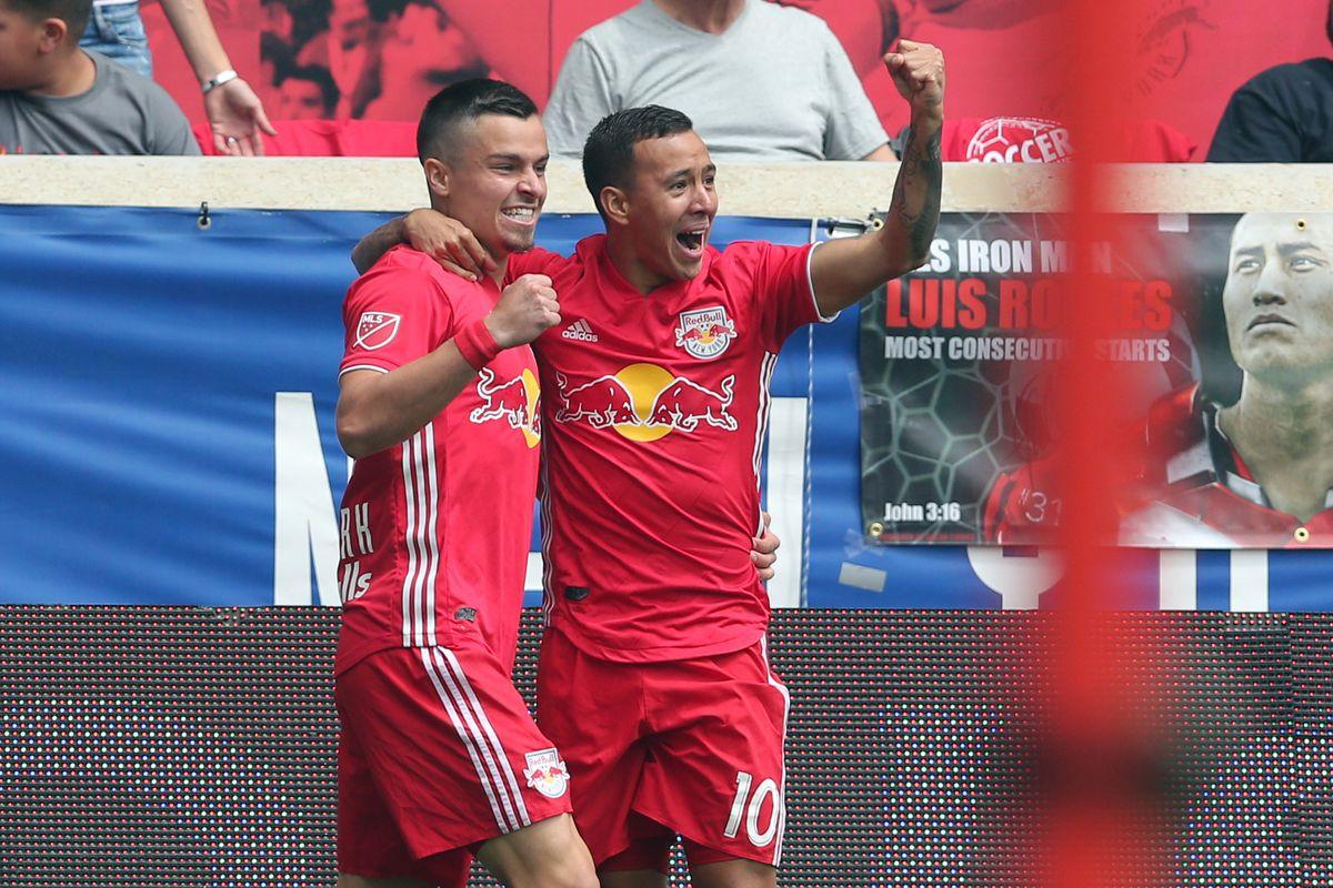 Red Bulls celebrate after scoring