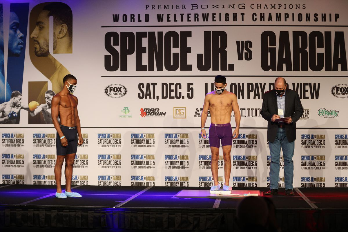 Errol Spence Jr. and Danny Garcia during weigh in for their WBC & IBF world welterweight championship fight on December 04, 2020 in Dallas, Texas.