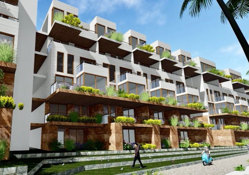 A rendering of a facade of the six-story building, which features apartments with balconies and landscaping along the balconies.