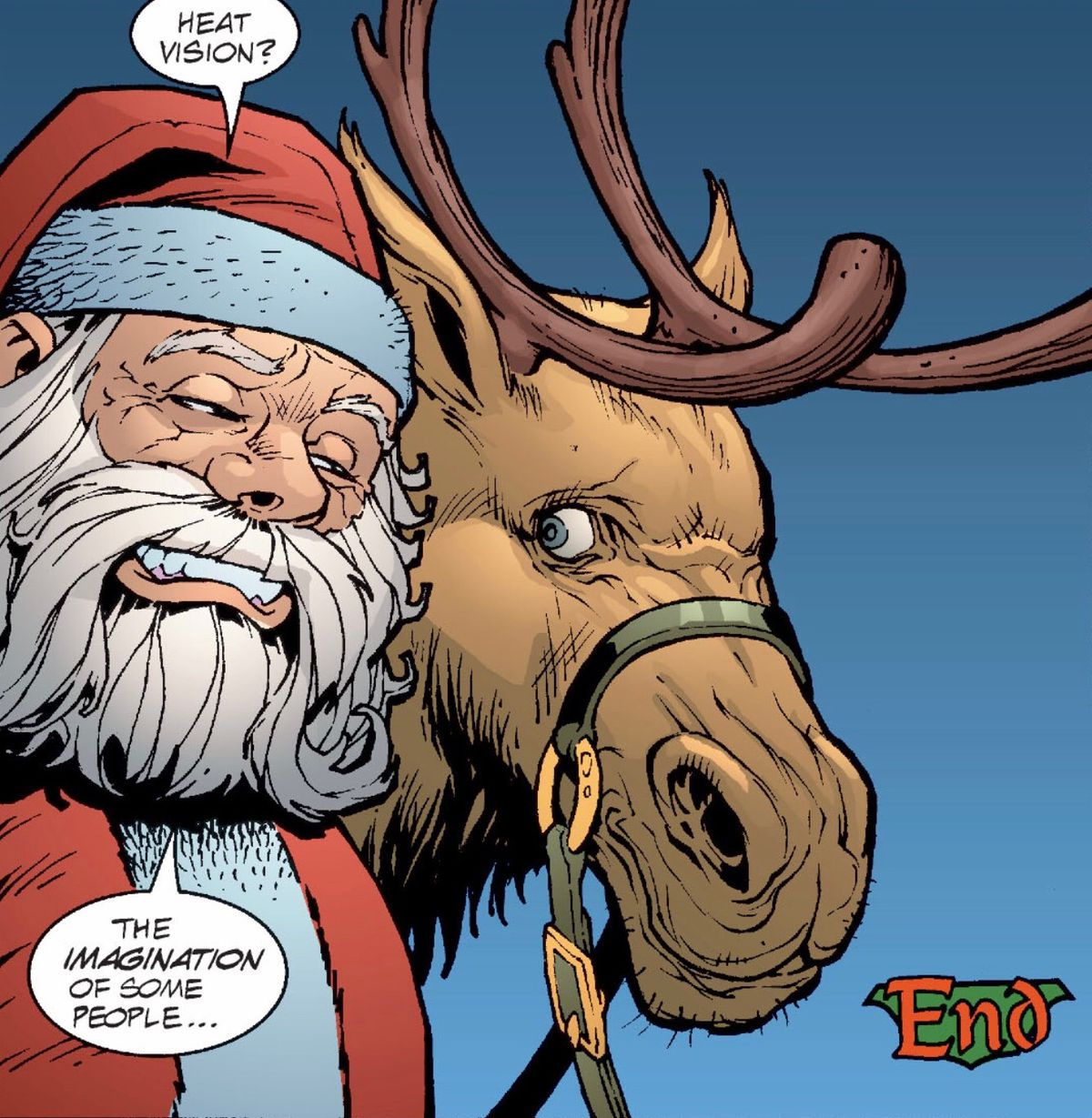 """""""Heat vision?"""" Santa says to a reindeer. """"The imagination of some people,"""" in JLA #60, DC Comics (2002)."""