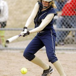 Skyline's #18 Avery Cambell swings on a pitch as Skyline and Olympus play Thursday, March 29, 2012. Skyline won 7-6.