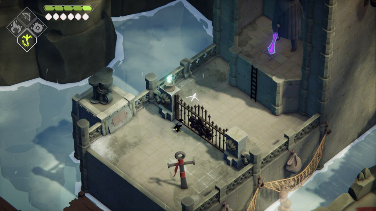 A crow stands in front of a gate, blocking him from a purple longsword