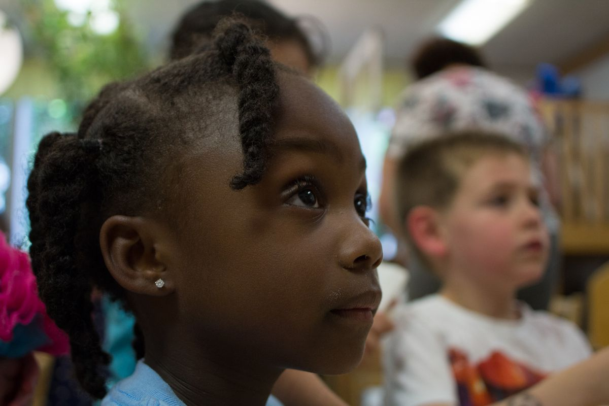 Children in the Yellow Room at Highland Park Community Nursery School are featured in the documentary on early childhood education, 'No Small Matter.'