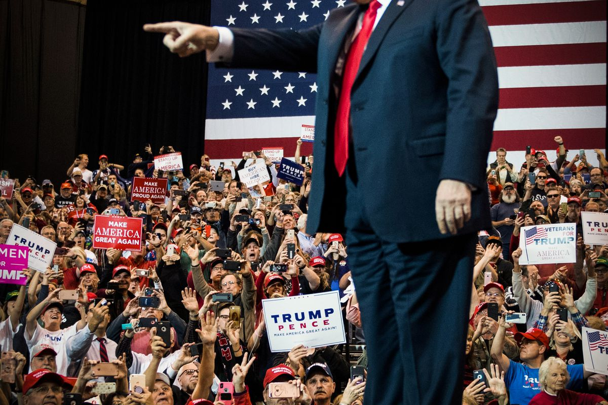 President Trump speaks at a rally in Cleveland, Ohio on November 5, 2018.