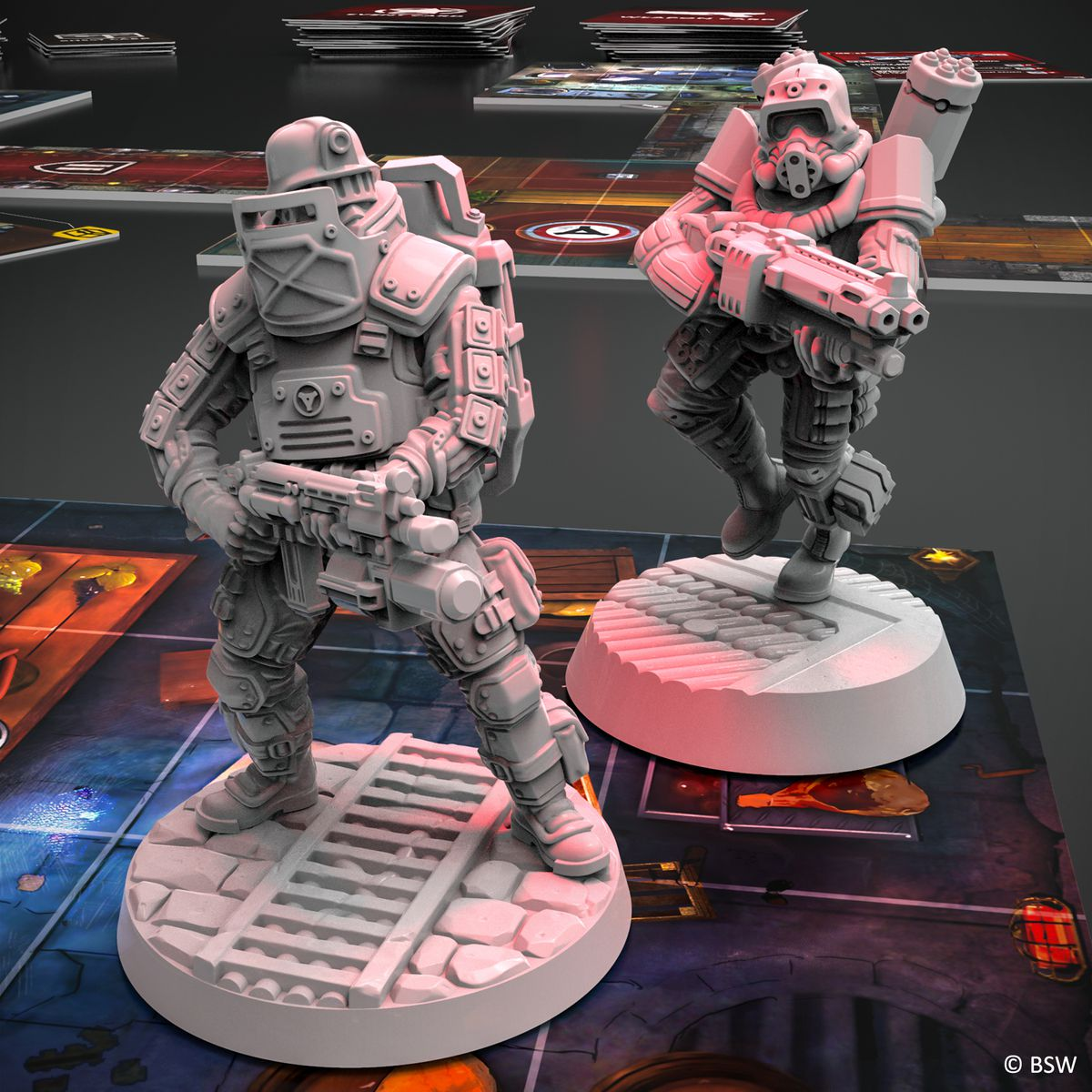 Fire and rocket troopers rendered in gray plastic.