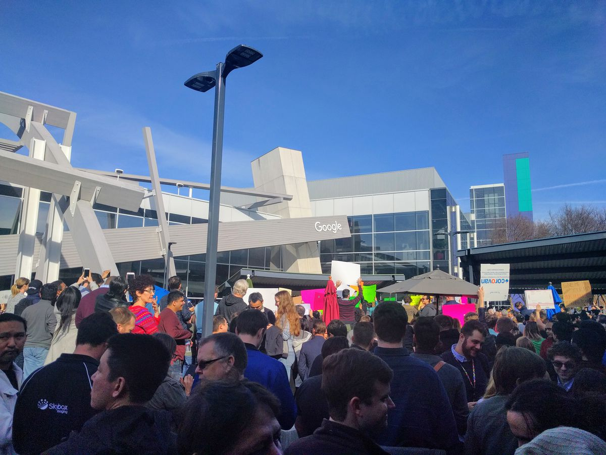 Google employees gather Jan. 30, 2017 at the company's headquarters to rally against President Donald Trump's immigration ban impacting seven predominantly Muslim countries.
