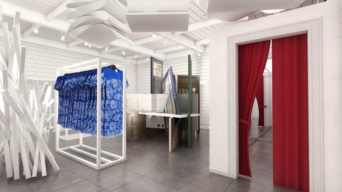 Rendering of Tadashi Shoji concept boutique at Glendale Galleria