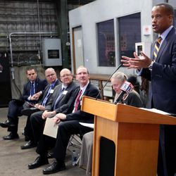 Jay Williams, U.S. assistant secretary of commerce for economic development, speaks at a press conference on Wednesday, Oct. 26, 2016. about the University of Utah's new research project that will study turning coal into a carbon fiber material for products such as outdoor recreational equipment, plane parts and auto parts at the U.'s Industrial Combustion and Gasification Facility in Salt Lake City.