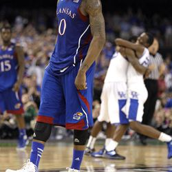 Kansas forward Thomas Robinson (0)  reacts after the NCAA Final Four tournament college basketball championship game Monday, April 2, 2012, in New Orleans.  Kentucky won 67-59.