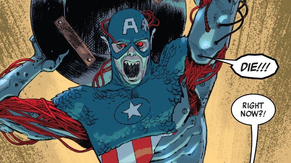 zombie captain america attacks tony stark in Spider-Man #4