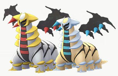 Shiny Altered Forme Giratina stands next to its regular version in Pokémon Go