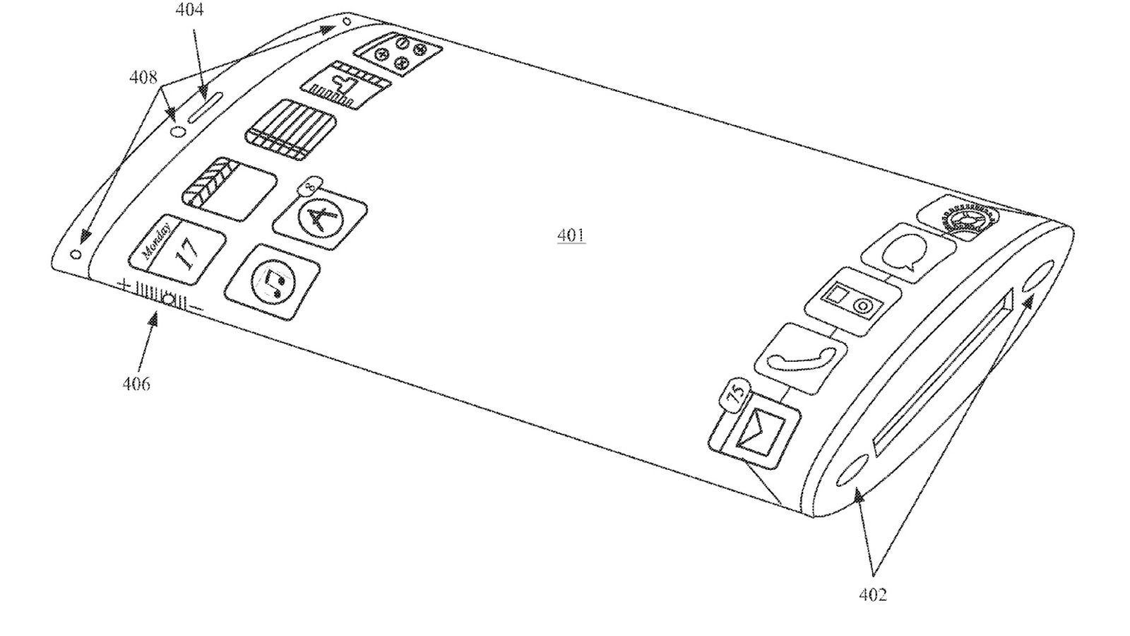 apple patented an iphone with a wraparound screen