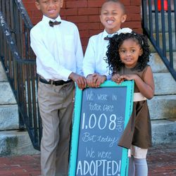 Elijah, 7, Kentrell, 5, and Gabbi, 4, were recently adopted after 1008 days in foster care. Their new dad, Richard Oden, was also in foster care and adopted when he was a child.