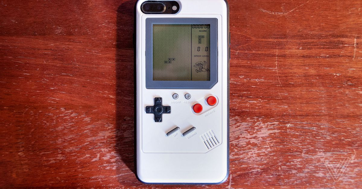 This GameBoy-style iPhone case has one redeeming feature. You can play Tetris on it!