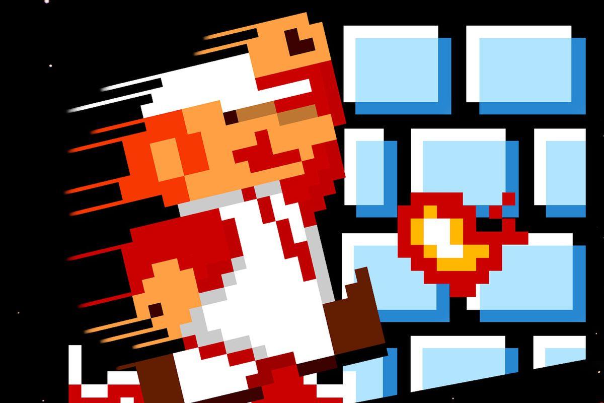 Artwork of Mario from the original Super Mario Bros. NES box art