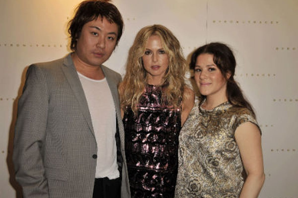"""Byron Williams of Byron &amp; Tracey and Tracey Cunningham flanking Rachel Zoe. Photo via <a href=""""http://www.redken.com/whats-hot/meet-the-experts/tracey-cunningham/"""">Redken</a>"""
