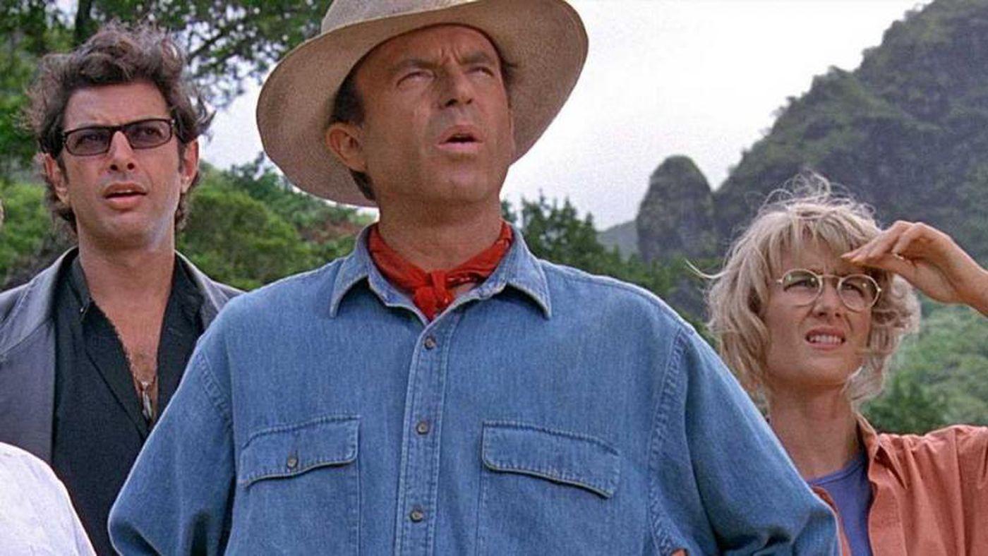 Laura Dern, Sam Neill y Jeff Goldblum en Jurassic Park