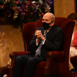President Russell M. Nelson listens to a speaker during the women's session of the 190th Semiannual General Conference of The Church of Jesus Christ of Latter-day Saints on Saturday, Oct. 3, 2020.