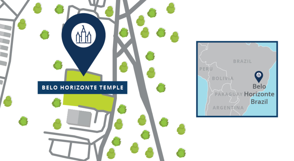 A map shows the locations of the Belo Horizonte Brazil Temple.