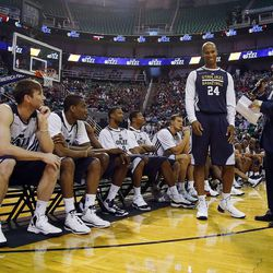 Richard Jefferson is introduced before the Utah Jazz scrimmage in Salt Lake City, Saturday, Oct. 5, 2013.