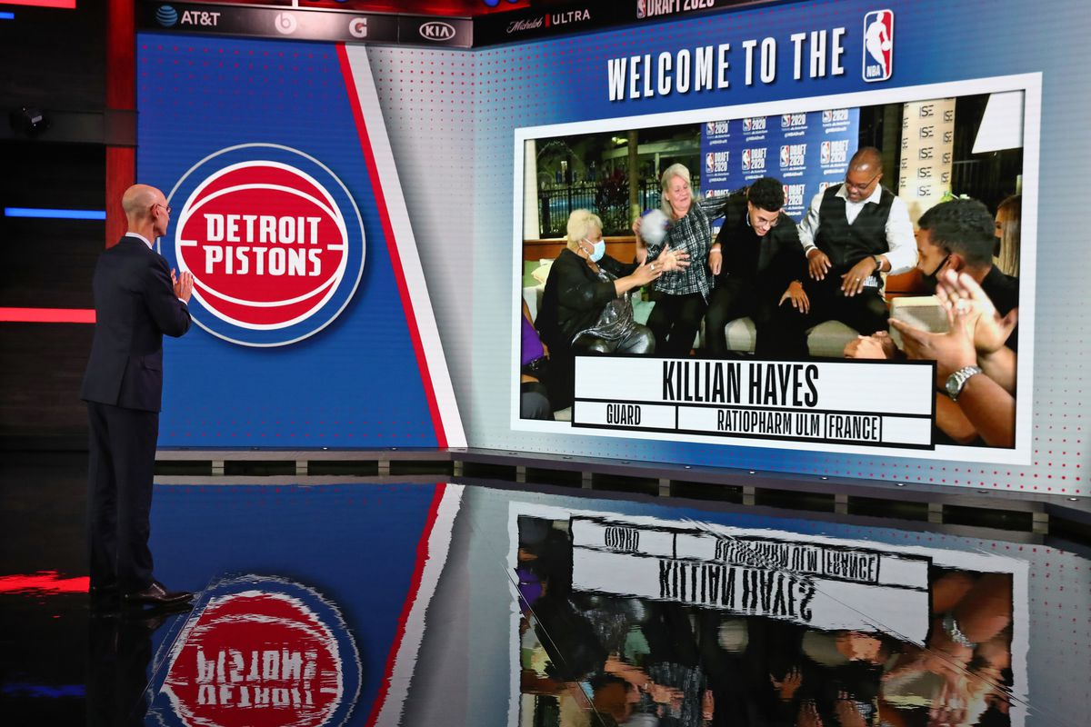 NBA Commissioner, Adam Silver reacts to the Detroit Pistons number seven overall pick of Killian Hayes during the 2020 NBA Draft on November 18, 2020 in Bristol, Connecticut at ESPN Headquarters.
