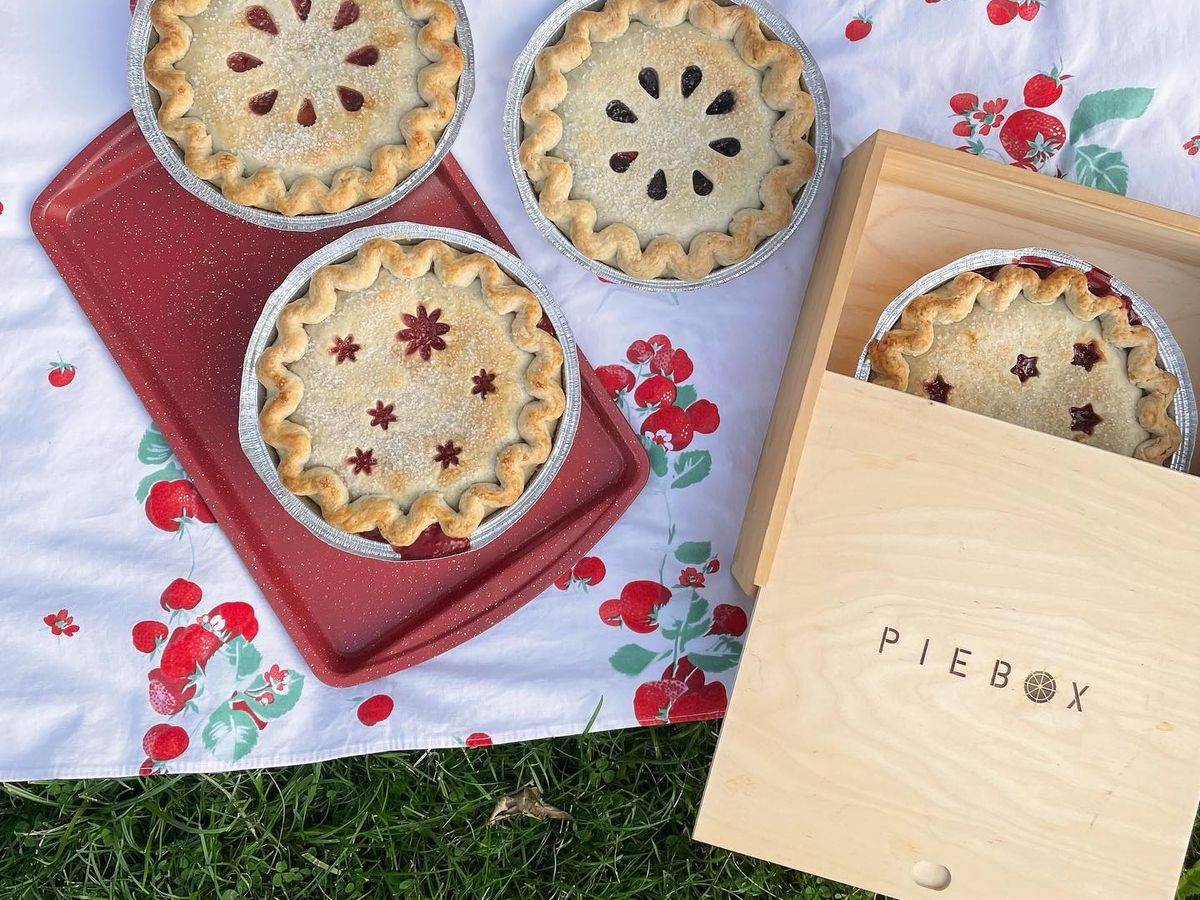 From above, several mini pies, one half revealed in a decorative box, on a patterned picnic blanket