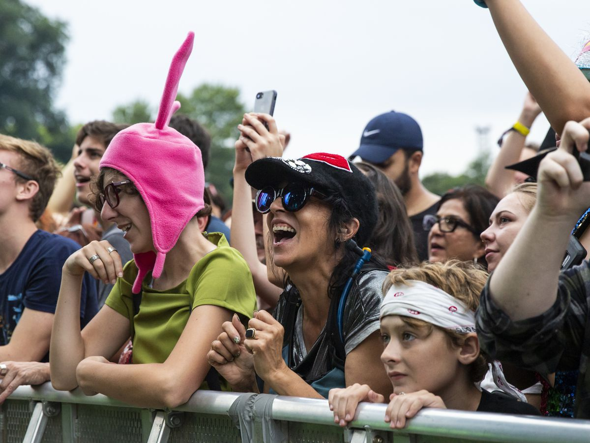 Fans cheer as The B-52s perform on day three of Riot Fest in Douglas Park, Sunday night, Sept. 15, 2019.