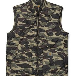 """<strong>Carhartt</strong> Camp Vest in Camo Isle, <a href=""""http://shop.carhartt-wip.com/us/men/jackets/I015689/s/camp-vest/27"""">$131</a> at Carhartt Work in Progress"""