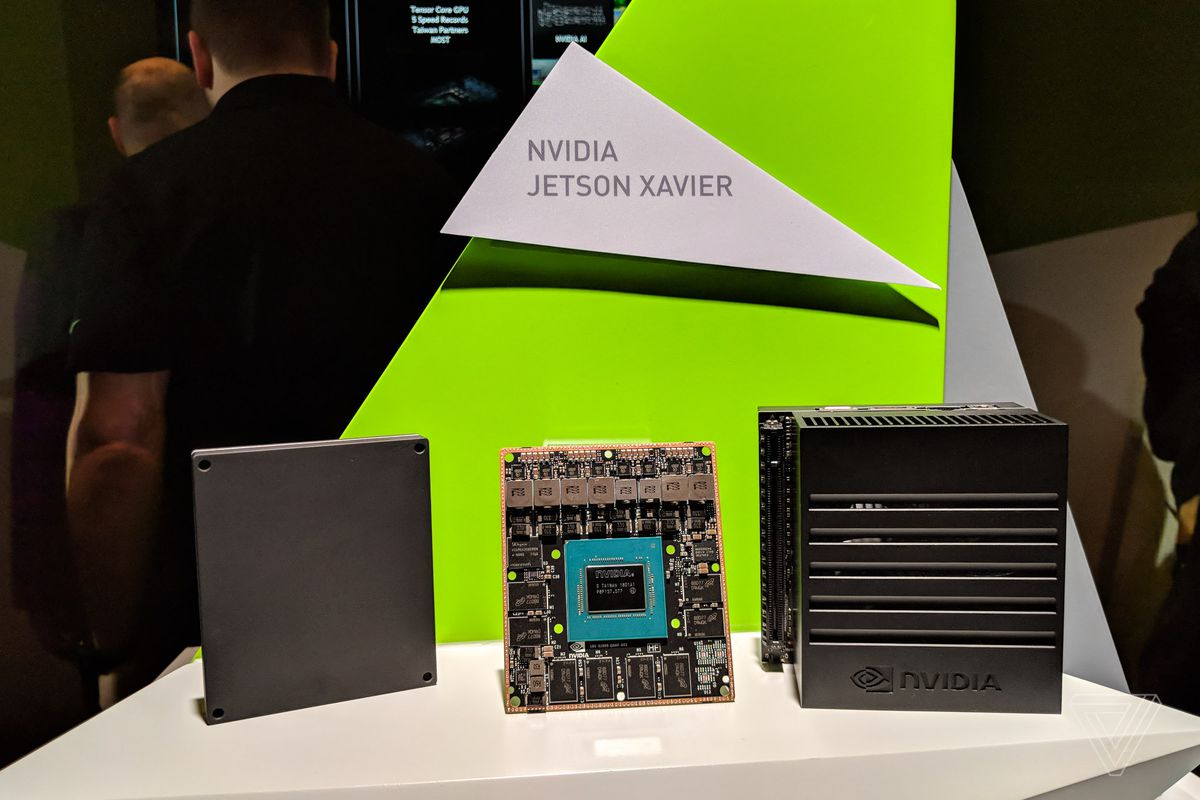 Nvidia's Jetson Xavier computer. The board itself, containing the CPU, CPU, and accelerators is in the middle. The dev kit is on the right.