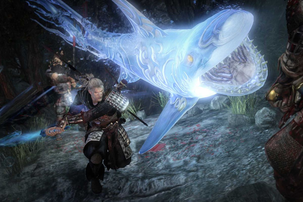 William throws a ghost shark at an enemy in a screenshot from Nioh