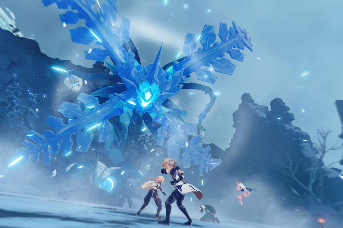 Three characters being blown away by a snowflake-inspired dragon.