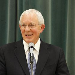 LDS Church Historian Elder Marlin K. Jensen of the First Quorum of the Seventy speaks during a Sons of the Utah Pioneers Symposium May 16, 2012. He has been nominated to serve on the State Board of Regents.
