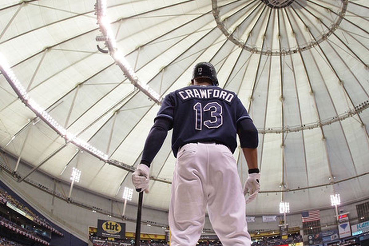 ST PETERSBURG FL - OCTOBER 07:  Carl Crawford #13 the Tampa Bay Rays waits on deck during Game 2 of the ALDS against the Texas Rangers at Tropicana Field on October 7 2010 in St. Petersburg Florida.  (Photo by Mike Ehrmann/Getty Images)