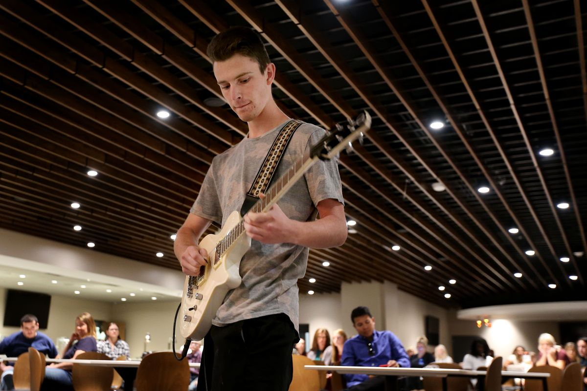 Braxton Jeppsen, of Roosevelt, auditions to perform the national anthem at a Utah Jazz game during the 2018-19 season at Vivint Smart Home Arena in Salt Lake City on Friday, Sept. 14, 2018. This year's auditions are set for Friday, Sept. 20.