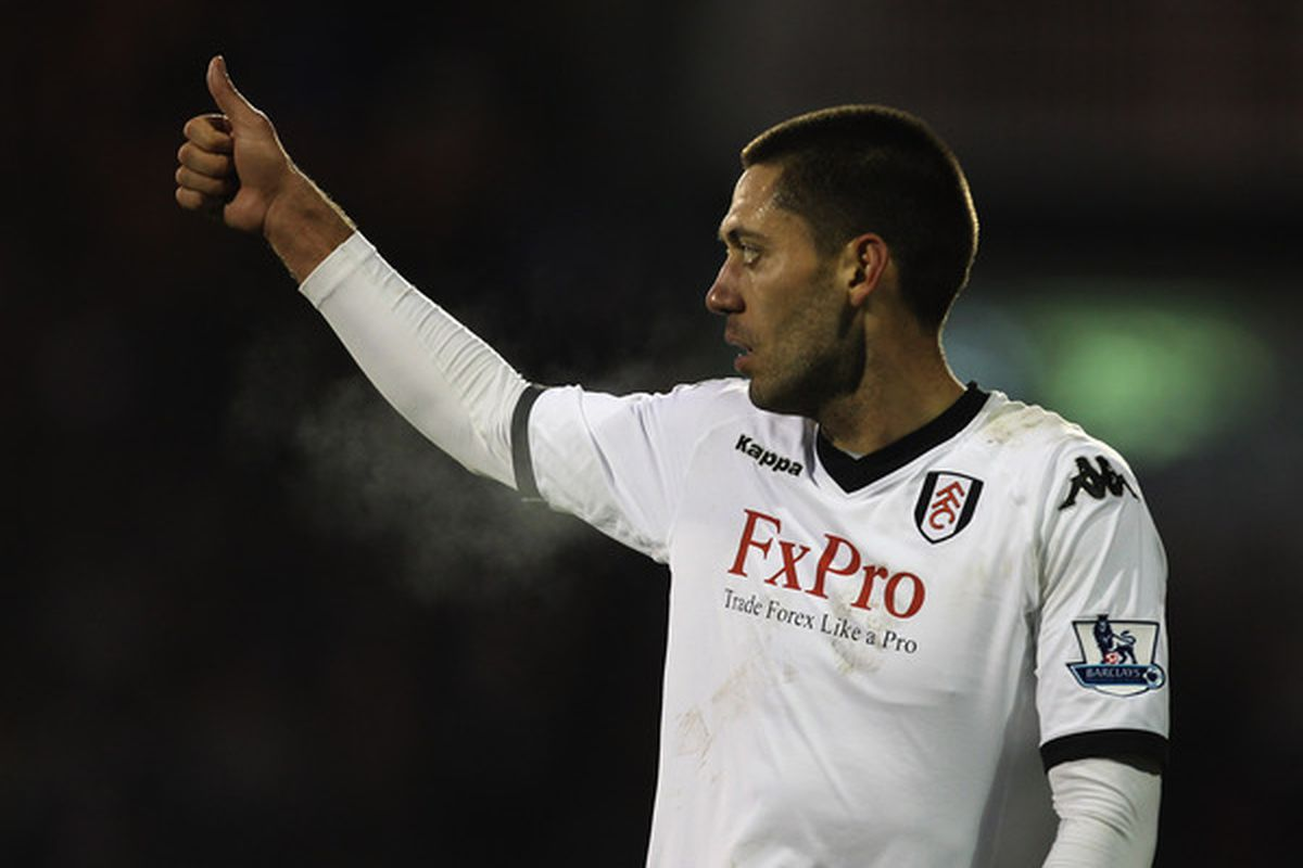 LONDON ENGLAND - NOVEMBER 27:  Clint Dempsey of Fulham celebrates scoring a goal during the Barclays Premier League match between Fulham and Birmingham City at Craven Cottage on November 27 2010 in London England.  (Photo by Ian Walton/Getty Images)